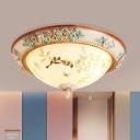 Korean Garden Dome Flush Light 3/4 Bulbs White Glass Ceiling Lamp with Flower and Bird Pattern