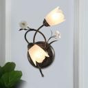 Milk Glass Bronze Sconce Curved Arm 2 Heads Korean Flower Wall Mounted Light Fixture, Left/Right