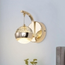 Seeded Crystal Ball Wall Hanging Light Modernist Bedside LED Wall Mount Lamp in Gold/Chrome