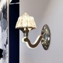 Cut-Crystal Chrome Wall Lamp Upside Down Trifle 1-Light Modern Sconce Light Fixture