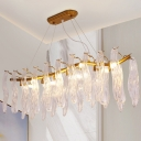 8 Lights Island Pendant Modern Leaf Textured Crystal Hanging Lamp with Wavy Rod Arm in Gold