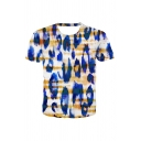 Blue Tie Dye Printed Short Sleeve Crew Neck Regular Fitted Casual Tee Top for Men