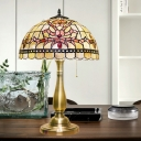 Dome Nightstand Lighting Tiffany Shell 2 Bulbs Gold Finish Bloom Patterned Table Lamp with Petal Pattern