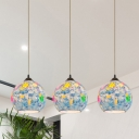 3-Light Globe Multi-Light Pendant Mediterranean Light Blue Stained Glass Drop Lamp with Linear Canopy