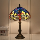 Stained Glass Bronze Desk Lamp Bowl 1 Light Tiffany Style Dragonfly Patterned Night Light