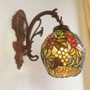 Copper 1 Bulb Wall Sconce Tiffany Grape-Pattern Stained Glass Cup Shaped Wall Mount Light