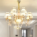 Gold 15-Light Pendant Lamp Modern Milk Glass Flared Tiered Chandelier over Dining Table