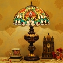Hemispherical Table Lamp Tiffany Stained Glass Single Orange/Beige Night Stand Light for Dining Room