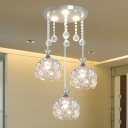 3-Light Dining Room Multi Light Pendant Simplicity Silver Hanging Lamp Kit with Sphere Crystal Encrusted Shade