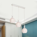 Simple Globe Cluster Pendant Lamp Crystal-Encrusted 3-Bulb Dining Room Ceiling Light in White