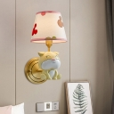 Doggy Wall Light Kit Cartoon Resin Single Gold Wall Mounted Lamp with Tapered Print Fabric Shade
