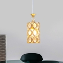 Cylinder Pendant Light Fixture Modernism Inserted Crystal 1 Head Dining Room Suspension Lamp in Gold