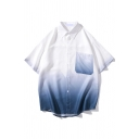 Simple Mens Chest Pocket Ombre Short Sleeve Point Collar Button down Oversize Shirt Top