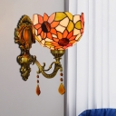 Sunflower Hand-Cut Stained Glass Sconce Tiffany 1 Bulb Brass Wall Mount Light Fixture