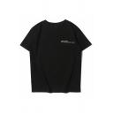 Kpop Boys Short Sleeve Crew Neck Letter Printed Loose T Shirt