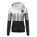 Leisure Womens Letter Nasa Printed Colorblock Long Sleeve Drawstring Slim Fit Hoodie with Pocket