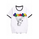 Cartoon Dog Balloon Pattern Short Sleeve Crew Neck Loose Fit White Fashion Ringer Tee for Girls