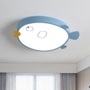 Birdie Flush Mount Ceiling Light Cartoon Acrylic Child Bedroom LED Flushmount in Pink/Blue