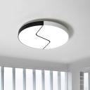 Crack Egg Flush-Mount Light Fixture Simplicity Acrylic Black-White LED Ceiling Lamp in Warm/White Light