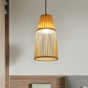 Cone Bamboo Rattan Dop Pendant Asia Style 1 Bulb Beige Hanging Ceiling Light for Bedroom