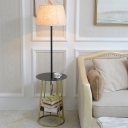 Modernist Tapered Fabric Floor Lamp 1 Head Floor Standing Light with Storage Shelf and Open Cage Base in Black-Gold