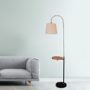 Barrel Shade Parlor Floor Lamp Fabric 1 Head Modern Style Standing Light in Flaxen with Side Table and Gooseneck Arm