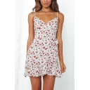 Fancy Girls All over Floral Printed Spaghetti Straps Bow Tie Waist Ruffled Short Wrap Cami Dress in White