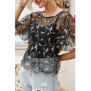 Amazing Girls Floral Embroidered See-through Mesh Scalloped Short Sleeve Round Neck Gathered Waist Relaxed T Shirt in Black