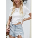 Pretty Girls Solid Color Ruched Short Sleeve Crew Neck Knitted Fitted Crop T Shirt in White