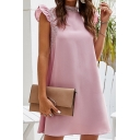 Fancy Womens Ruffled Trim Sleeveless Mock Neck Lace Patched Short A-line Work Dress in Pink