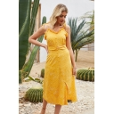 Glamorous Ladies Polka Dot Print Bow Tie Shoulder Stringy Selvedge Oblique Button up Slit Front Midi A-line Cami Dress in Yellow
