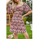 Red Fashion Allover Floral Printed Short Sleeve Sweetheart Neck Ruched Short A-line Dress for Women