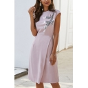 Unique Womens Sequined Patterned Short Sleeve Crew Neck Midi Wrap Dinner Dress