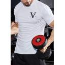 Bodybuilding Short Sleeve Crew Neck Letter V Print Slim Fit T-shirt for Guys