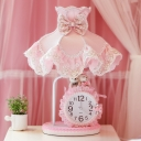 Pastoral Goffered Frill Night Light Single Fabric Table Lamp with Clock in Pink for Girl's Room