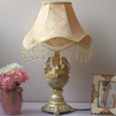 Single Bulb Printed Fabric Night Light Countryside Apricot Flared Bedside Table Lamp with Cascading Drape