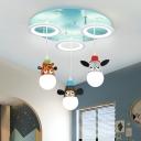 Loop Multi Light Pendant Cartoon Acrylic 3 Lights Blue LED Hanging Lamp Kit with Animals Deco
