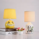 Drum/Cylinder/Square Fabric Table Light Modern 1 Bulb White/Yellow Night Lamp with Round/Tree/Star Ceramic Base