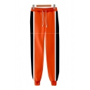 Boys Popular Contrasted Drawstring Waist Ankle Cuffed Tapered Fit Sweatpants