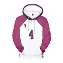 Chic Mens White and Pink Number Footprint Graphic Long Sleeve Drawstring Contrasted Loose Cosplay Hoodie
