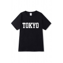 Cool Letter Tokyo Print Short Sleeve Crew Neck Relaxed Fit T-shirt