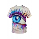 Amazing Eye Splash Ink 3D Pattern Short Sleeve Crew Neck Fitted Tee for Guys
