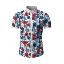 Casual Mens Allover Floral Printed Short Sleeve Point Collar Button down Regular Fit Shirt
