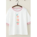 Cute White Peach Printed Half Sleeves Round Neck Relaxed Ringer Tee for Girls