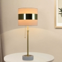 Cylinder Pull-Chain Table Lamp Modern Fabric 1 Light White Night Lamp with Polished Gold Band