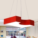 Simple Geometric Pendant Light Fixture Acrylic LED Kindergarten Hanging Lamp Kit in Red/Yellow/Blue