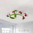 Ladybug Shape Semi-Flush Ceiling Light Kids Metal 6 Bulbs Green Flush Mount Fixture with Spiral Arm