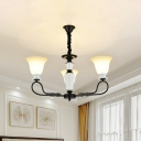 3/6 Lights Curved Arm Chandelier Light Rural Black Metal Hanging Pendant with Flared Frosted Glass Shade