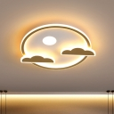 Nordic LED Flushmount Lamp Gold Moon-Cloud Night Sky Ultrathin Ceiling Light with Acrylic Shade in Warm/White Light