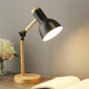 Macaron Bowl Shade Desk Lamp Iron 1 Bulb Study Room Reading Book Light in Black/White/Pink with Adjustable Wood Arm